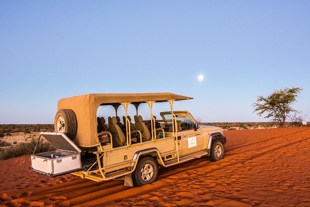 Sundowner Tour zu den roten Dünen der Kalahari Anib Lodge Namibia