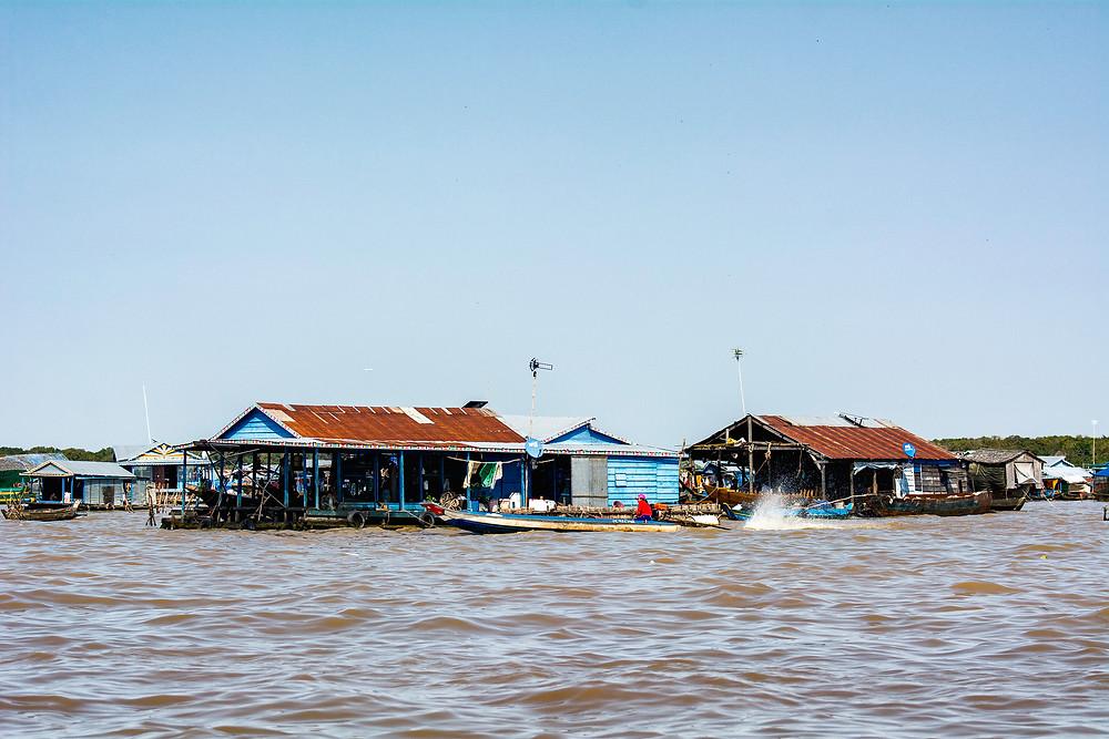 Die schwimmenden Häuser auf dem Tonle Sap