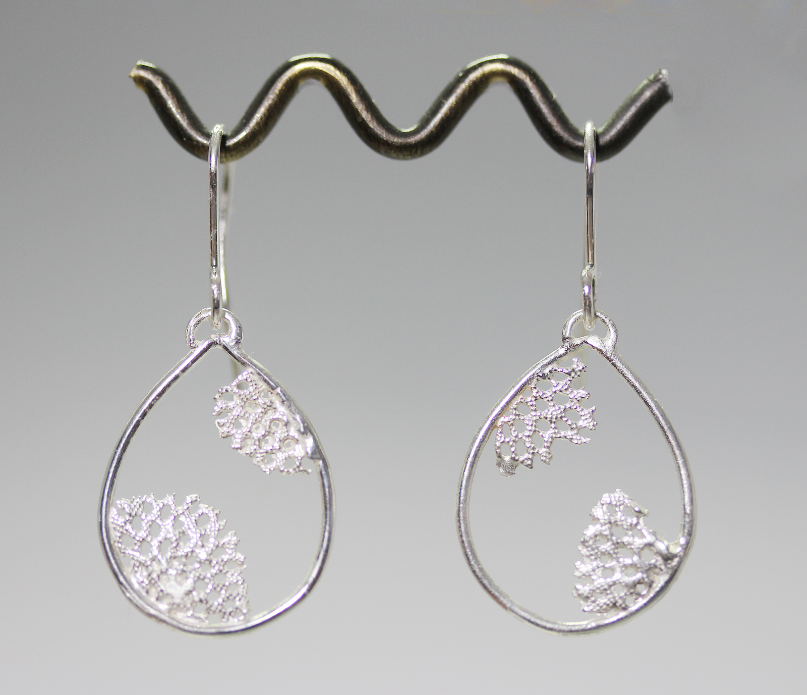 Lace coral teardrop earrings