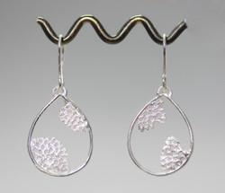 Lace coral teardrop earrings