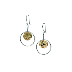 Ring and disk earrings (brass)