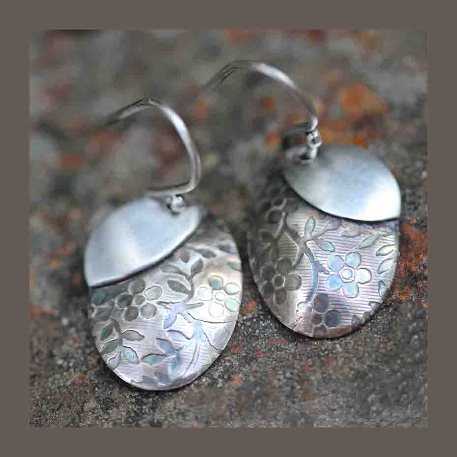 Oval patina earrings with petal