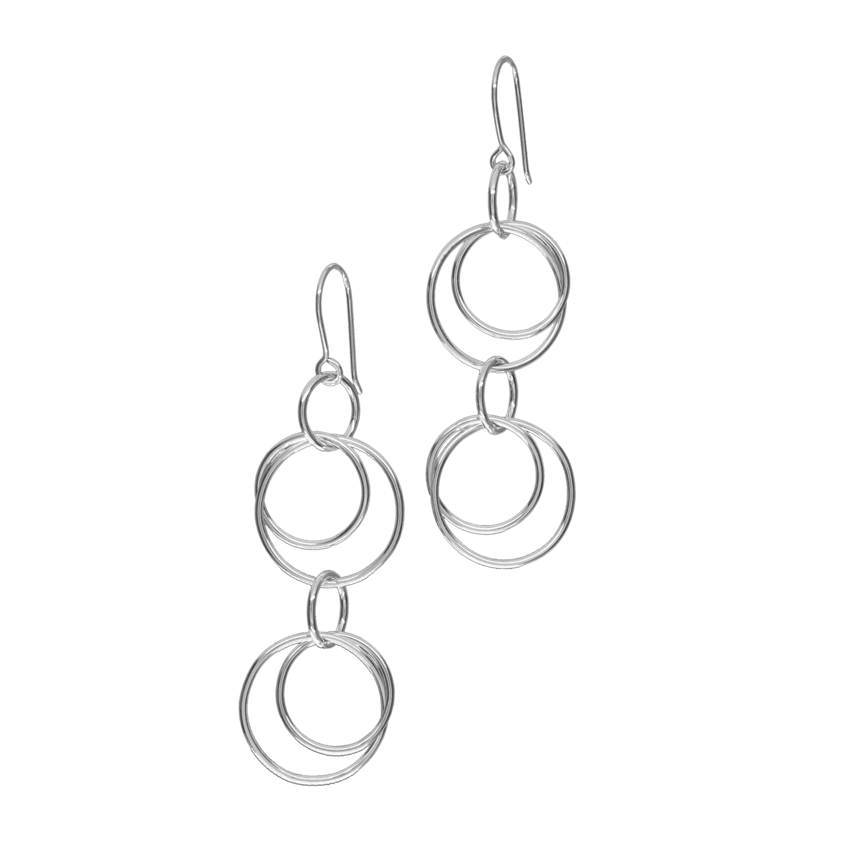 Circles double-drop earrings