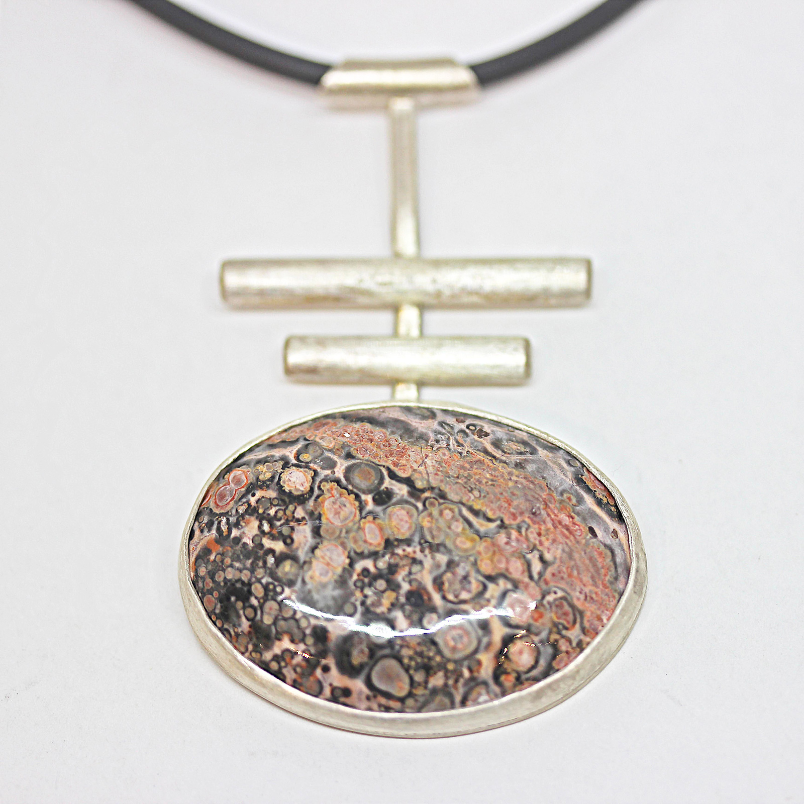 Leopardskin jasper zen necklace on pvc