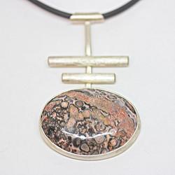 Leopardskin jasper zen necklace on pvc