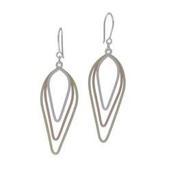Tri-metal leaf earrings