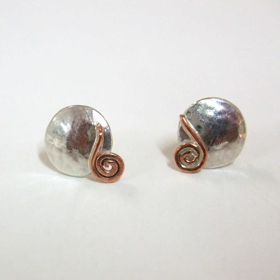 Copper and sterling silver coil studs