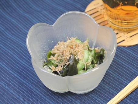 「生姜じゃこときゅうりの酢の物」