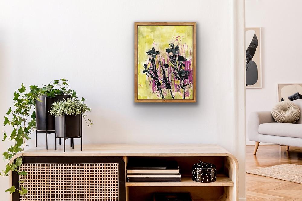 "Lacy Rueff abstract acrylic art painting, named ""Lulu."""