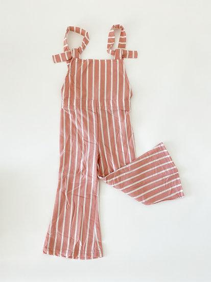 Suspender bell bottom jumpsuit