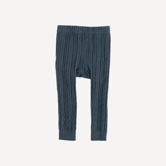 Iron Blue Cable Knit Footless Tights- Organic Cotton