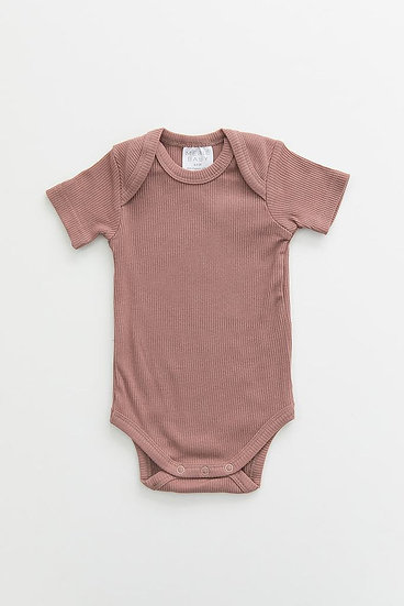 Dusty Rose Organic Cotton Ribbed Bodysuit