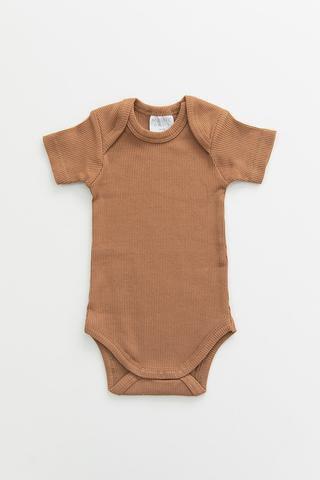Camel Organic Cotton Ribbed Bodysuit