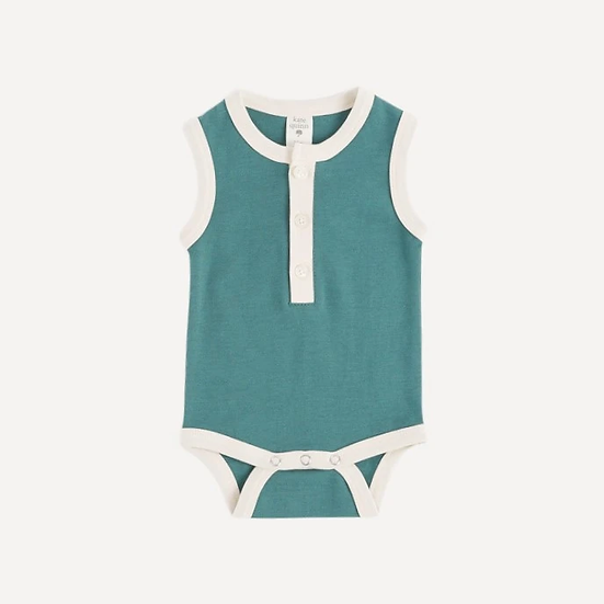 Henley Tank Bodysuit- Sea- Organic Cotton