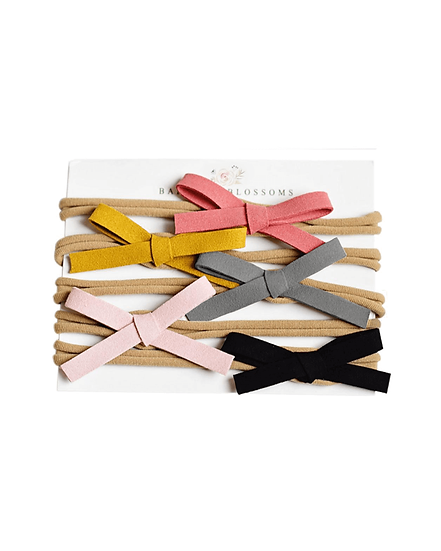 Leather Bow Variety Pack - Coral/Mustard/Gray/LtPink/Black
