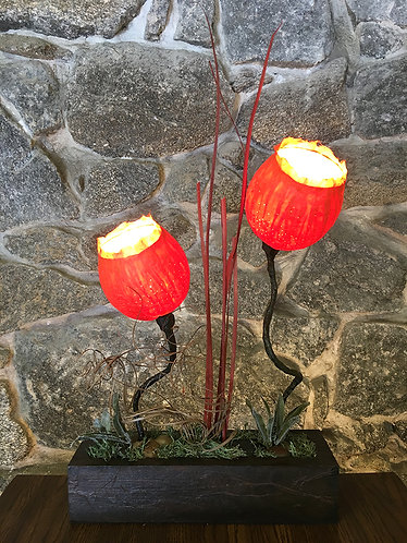 Two Red Petal Table Lamp