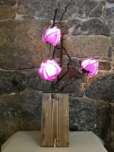 Three Purple Petal Table Lamp