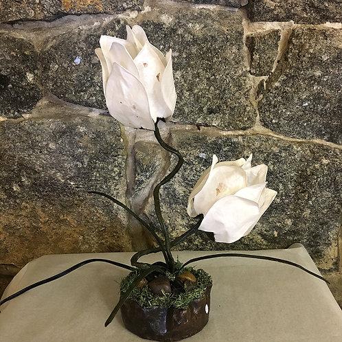 Two White Flower TableLamp