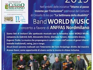 SABATO 30 NOVEMBRE alle ore 21 WORLD MUSIC BAND AL Teatro Giovanni XXIII DI CUSANO MILANINO