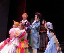 Wigmaker and assistant with Cindy and Stepsisters