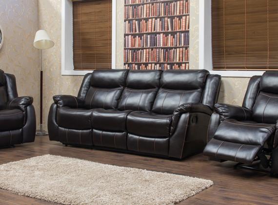 Walton Leather Look - Dark Brown - 3+1+1