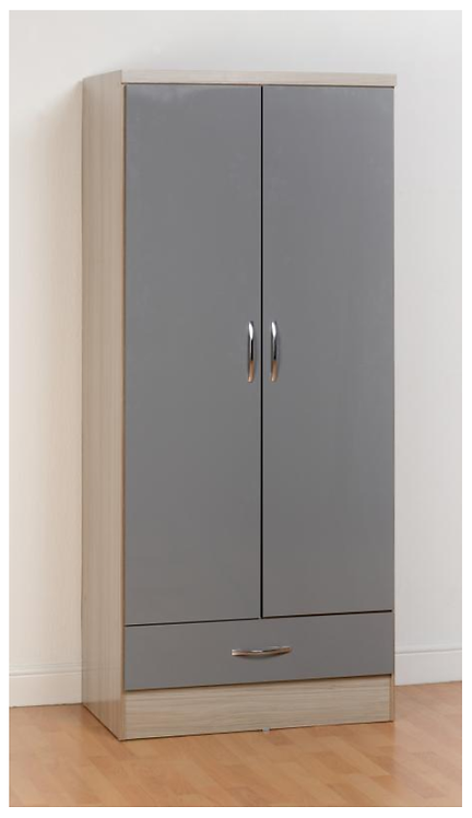 Nevada Grey 2 Door, 1 Drawer Wardrobe