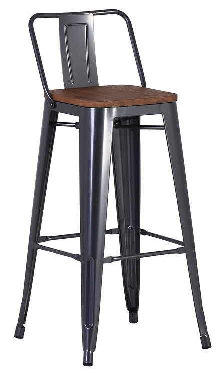 Tannum High Stool with Back - 4 Colours