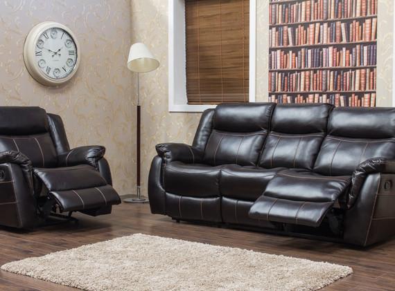 Walton Leather Look - Dark Brown - 3+1 (