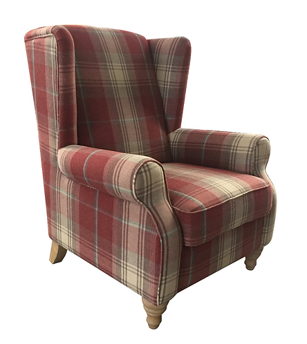 9054 Red Check Armchair