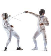Fencing athletes or players isolated in
