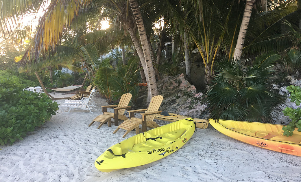 Private beach area with Kayaks, Chairs a