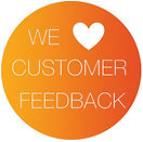 A button image saying 'we love customer feedback'
