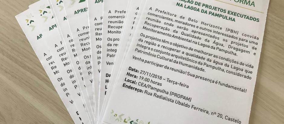 Projetos executados na Lagoa da Pampulha serão apresentados em reunião junto às comunidades locais