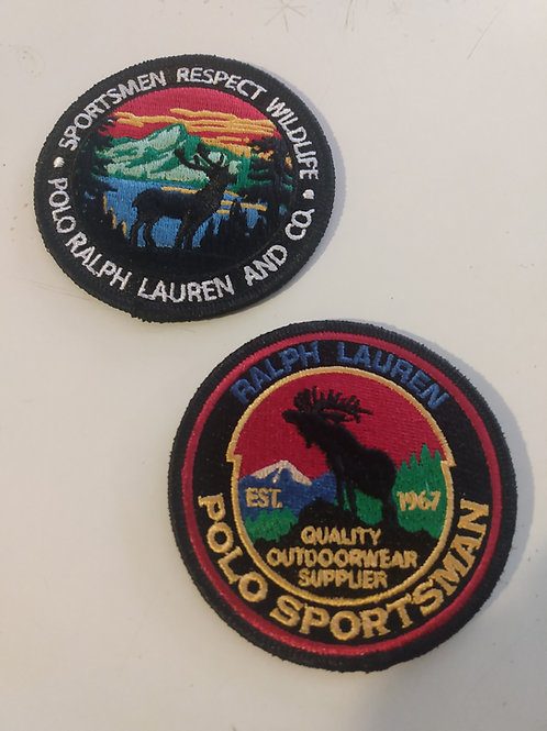 2 Vintage Polo Ralph Lauren Patches (SPORTSMAN and RESPECT WILDLIFE)
