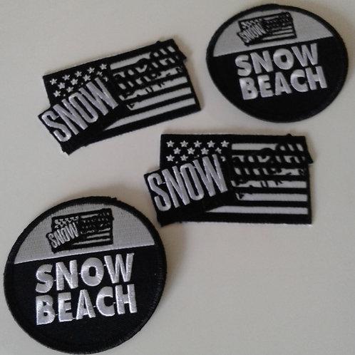 Snow Beach (Black White) Flag & Circle Patches