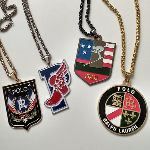 """SUI SKI,POLO COOKIE,POLO UNI and P WING""""MEDALLION"""" CHAINS (4 PIECE SET)"""