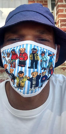 (Pin Stripe) Polo Teddy Bears Face Mask