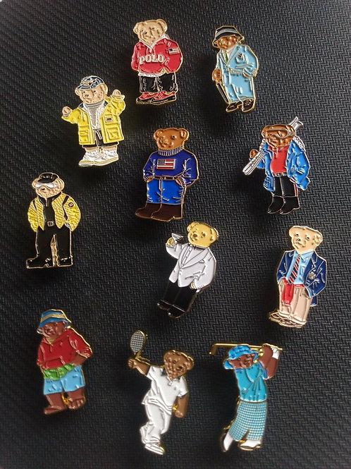 "Vintage Polo Ralph Lauren ""11 PIECE POLO BEAR"" Lapel Pins Set"