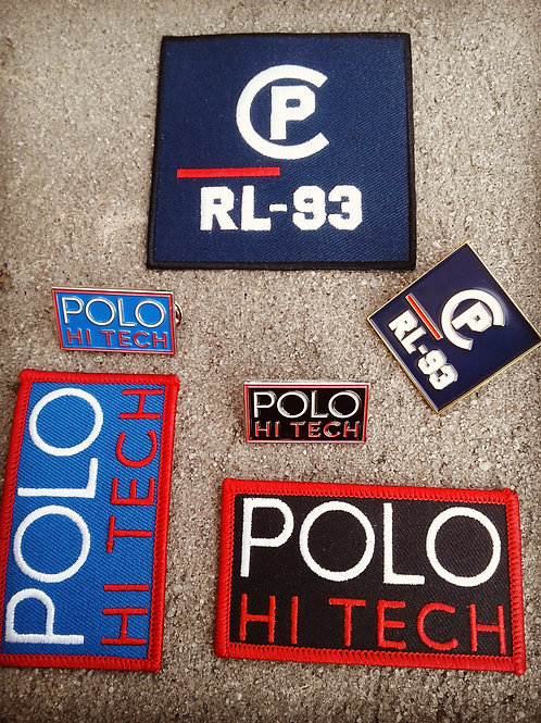 6 Piece CP RL-93 xPolo Hi Tech (Patches & Pins) Royal Blue, Navy Blue, Black