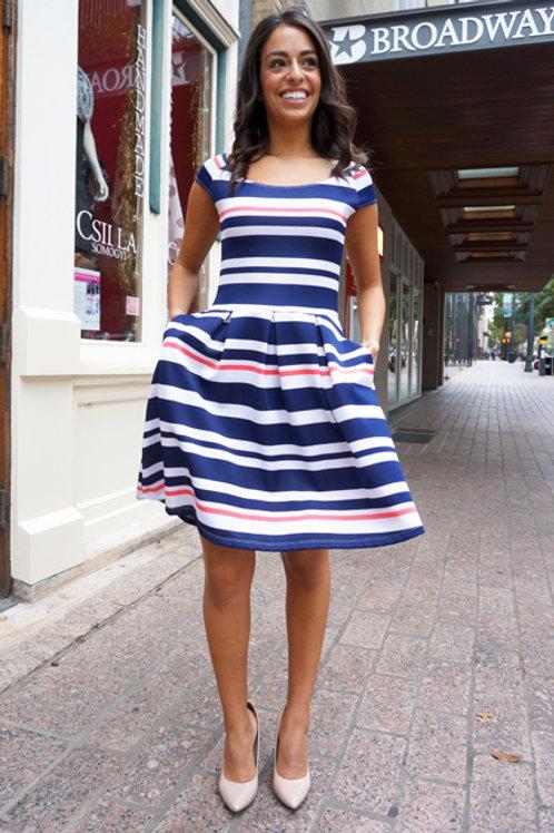 Navy/White/Coral Stripe Maralyn Salamanca