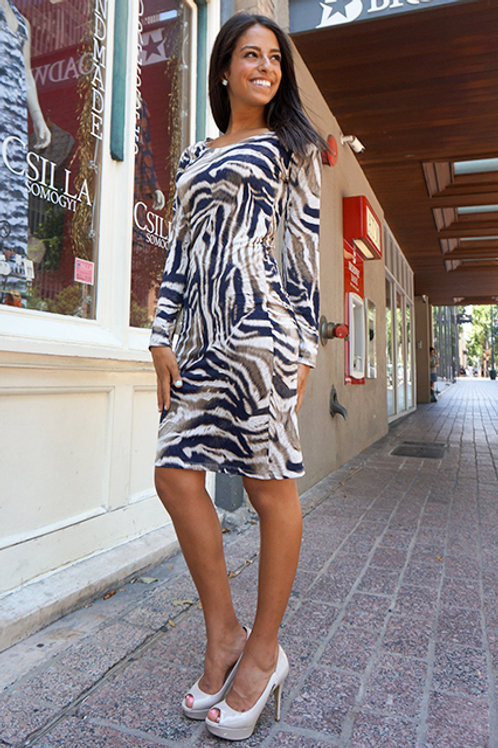 Beige/Navy Tiger Stripe Long Sleeve Raglan Dress