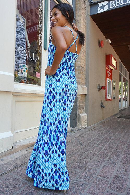 Blue Diamond Print Lisbon Dress
