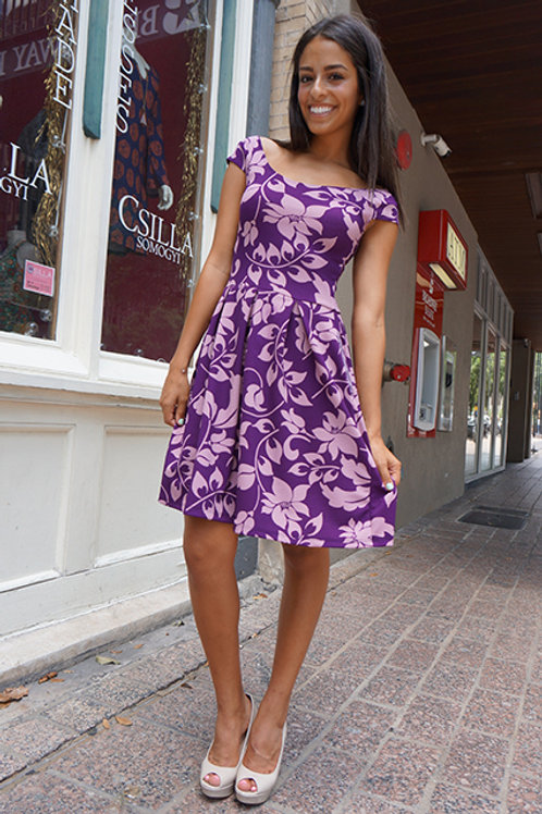 Purple Hawaiian Floral Maralyn Salamanca Dress