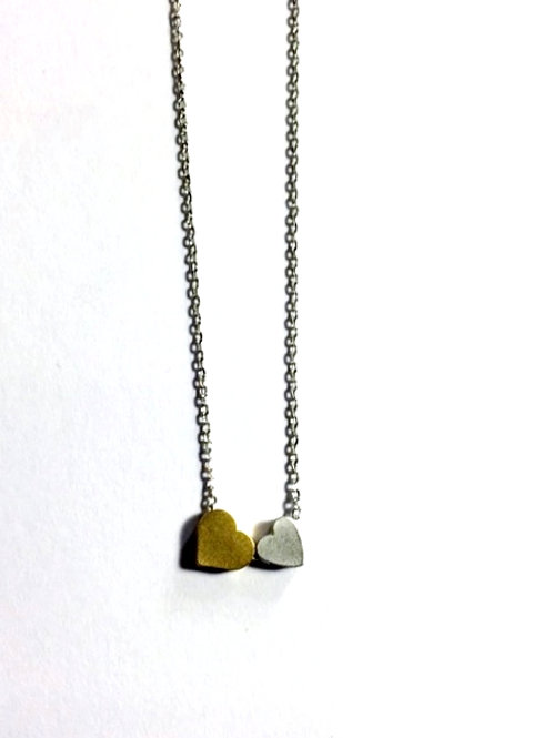 Double Heart 16'' to 18'' Necklace