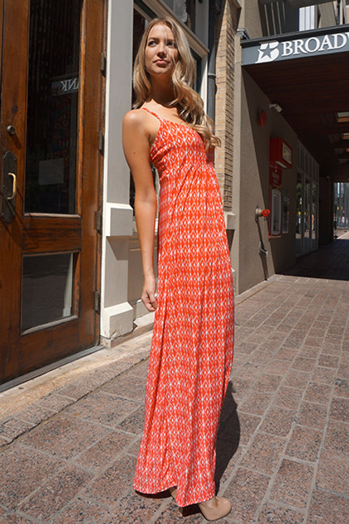 Coral/White Ikat Print Lisbon Dress