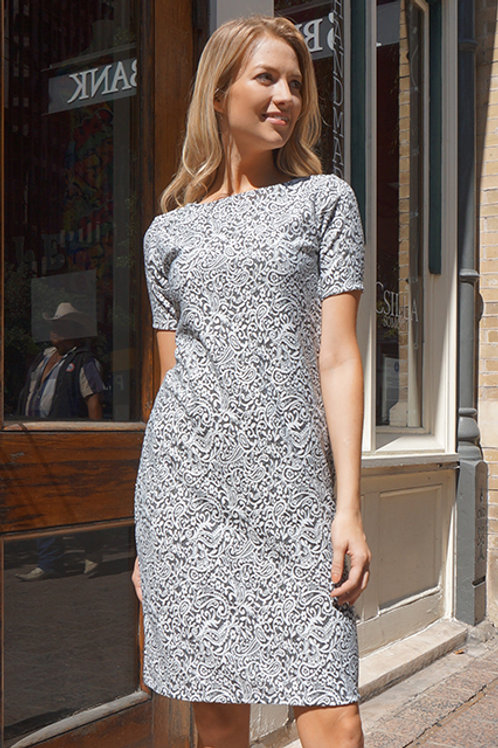 White/Grey Paisley Textured Executive Dress