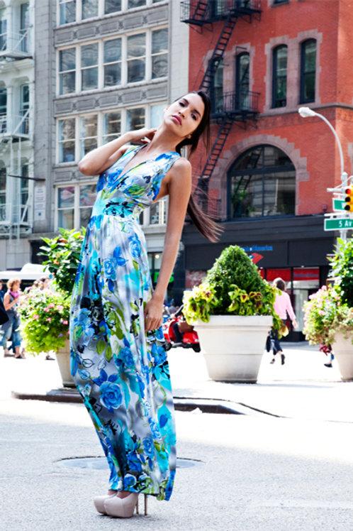 Blue/Grey Floral Crossback Genoa Dress