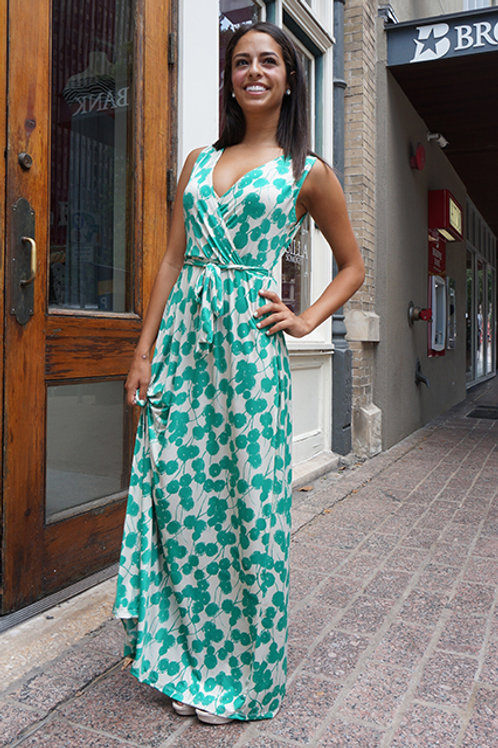 Green/Beige Poppy Print Long Macy Dress