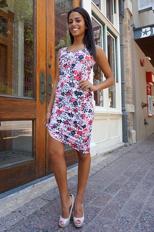 Pink/Navy China Floral Skinny Pisa Dress