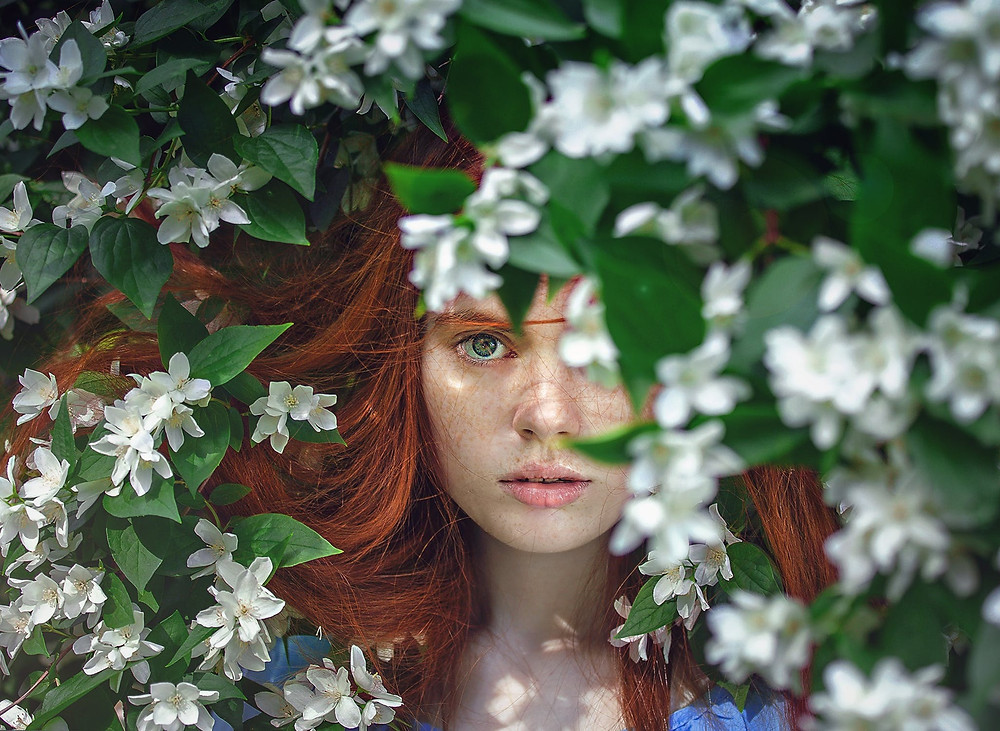 Green eye girl in jasmine bush